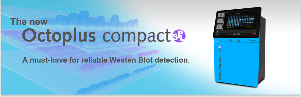 Bild Header Octoplus compact SPL: Der Imager für Western Blots mit leistungsstarker 4-Farben Fluoreszenz und sensitiver Chemilumineszenz-Detektion