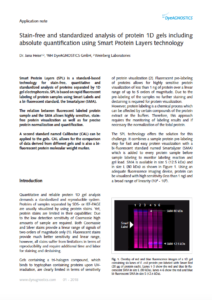 Image of PDF Application note: Stain-free and standardized analysis of protein 1D gels including absolute quantification using Smart Protein Layers technology